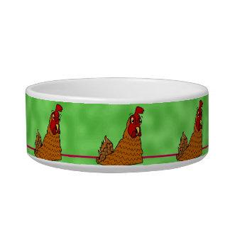 Cute Cartoon Hens Chickens Green Custom Pet Bowl