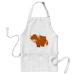 Cute Cartoon Highland Cow Cooking Apron