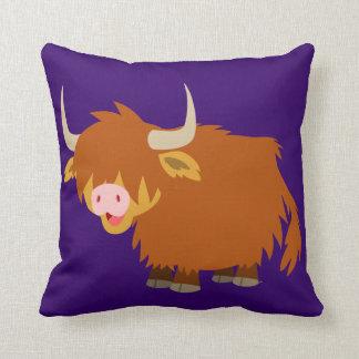 Cute Cartoon Highland Cow Pillow