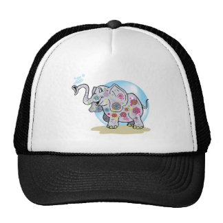 Cute Cartoon Hippie Elephant with Colorful Flowers Trucker Hat