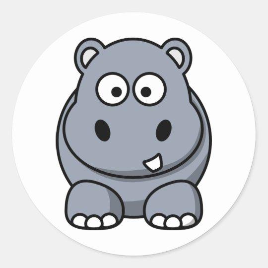 Cute Cartoon Hippo Classic Round Sticker