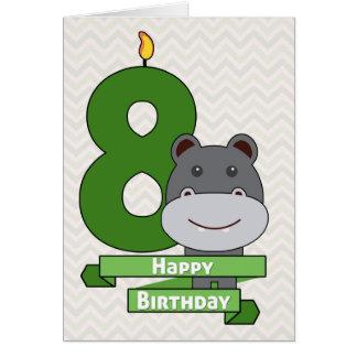 Cute Cartoon Hippo for Child's Birthday Card