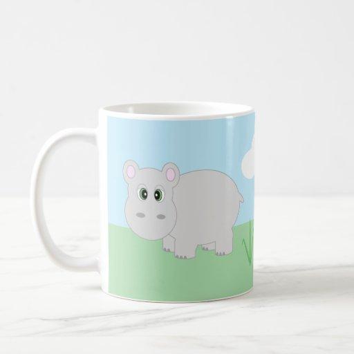 Cute Cartoon Hippo / Hippopotamus Mug
