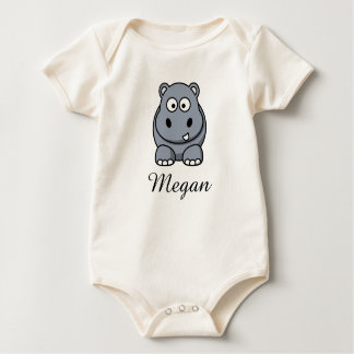 Cute cartoon hippo personalized with childs name baby bodysuit