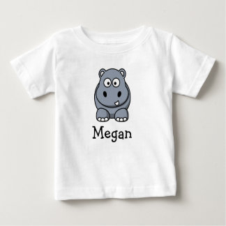 Cute cartoon hippo personalized with childs name infant t-shirt