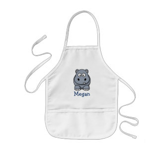 Cute cartoon hippo personalized with childs name kids' apron