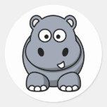 Cute Cartoon Hippo Round Sticker