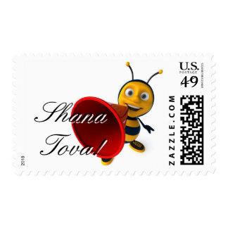 Cute cartoon Honeybee stamp for Rosh Hashanah