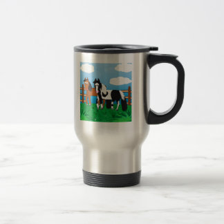 Cute Cartoon horse 15 Oz Stainless Steel Travel Mug
