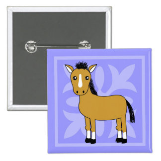 Cute Cartoon Horse Pretty Background Pinback Buttons