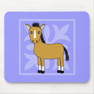 Cute Cartoon Horse Pretty Background Mouse Pad