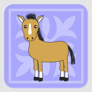 Cute Cartoon Horse Pretty Background Square Sticker