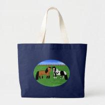 Cute Cartoon Horses Large Tote Bag