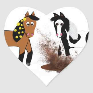 Cute Cartoon Horses playing in Big Bad Scary Mud P Heart Sticker