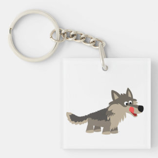 Cute Cartoon Hungry Wolf  Acrylic Keychain