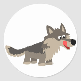 Cute Cartoon Hungry Wolf  Sticker