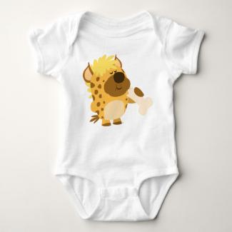 Cute Cartoon  Hyena Crushing a Bone Baby T-Shirt