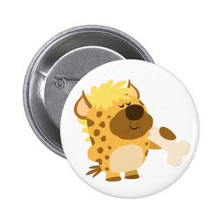Cute Cartoon  Hyena Crushing a Bone Button Badge
