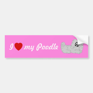 Cute Cartoon I Love My Poodle Curly Poodle Puppy Bumper Sticker