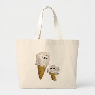 Cute Cartoon Ice Cream Cones Large Tote Bag