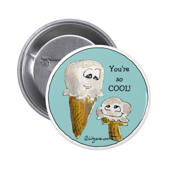 Cute Cartoon Ice Cream Cones Pinback Button