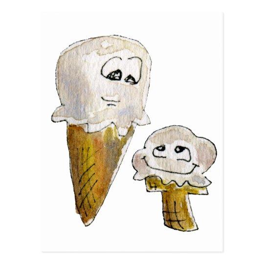 Cute Cartoon Ice Cream Cones Postcard