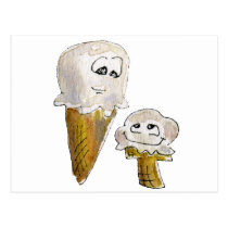 Cute Cartoon Ice Cream Cones Postcard