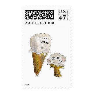 Cute Cartoon Ice Cream Cones Stamp