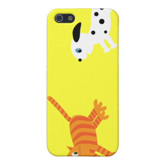 Cute Cartoon Illustration Dog Chasing Cat Yellow Cover For iPhone 5