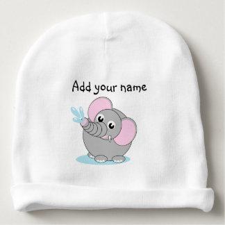 Cute cartoon illustration of a baby gray elephant, baby beanie
