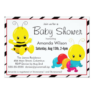 Cute Cartoon Insects Baby Shower 5x7 Paper Invitation Card