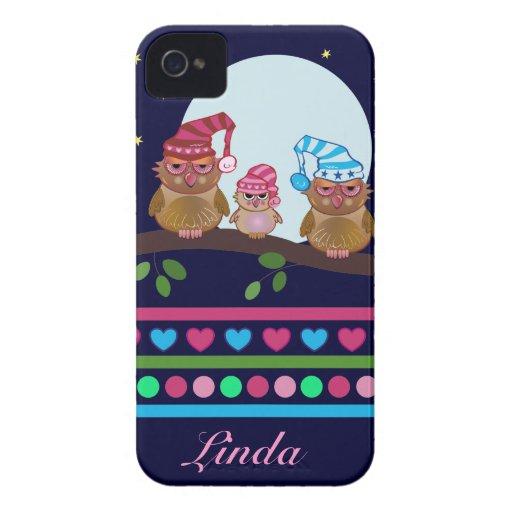 Cute cartoon iPhone 4 Case-Mate Owl family