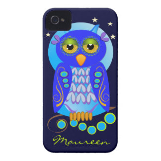 Cute Cartoon iPhone case-mate with Owl and Name iPhone 4 Cover