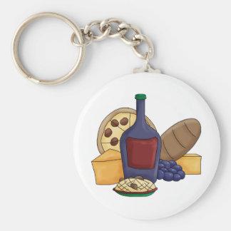 Cute Cartoon Italian Food Pasta Bread Wine Cheese Basic Round Button Keychain