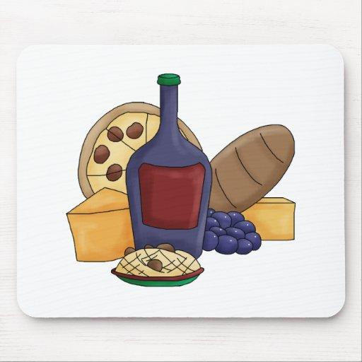 Cute Cartoon Italian Food Pasta Bread Wine Cheese Mouse Pad