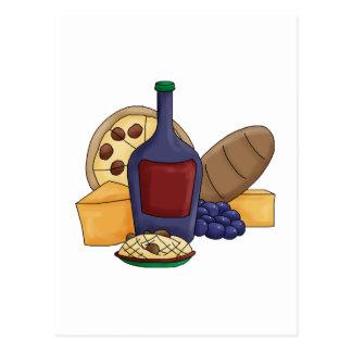 Cute Cartoon Italian Food Pasta Bread Wine Cheese Post Cards