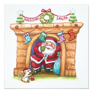 Cute Cartoon Jolly Santa Claus Coming Down Chimney Card