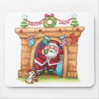 Cute Cartoon Jolly Santa Claus Coming Down Chimney Mouse Pad