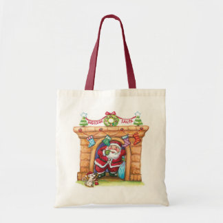 Cute Cartoon Jolly Santa Claus Coming Down Chimney Tote Bag