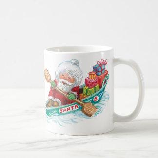 Cute Cartoon Jolly Santa Claus in a Row Boat Coffee Mug