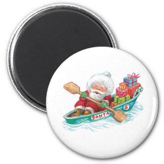 Cute Cartoon Jolly Santa Claus in a Row Boat Magnet