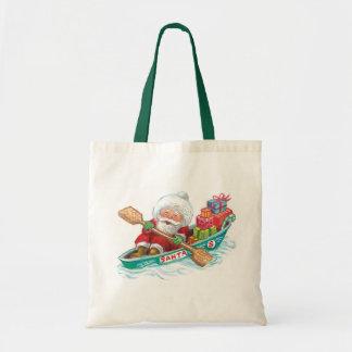 Cute Cartoon Jolly Santa Claus in a Row Boat Tote Bag