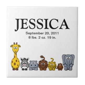 Cute Cartoon Jungle Animals 2 New Baby Name Tile
