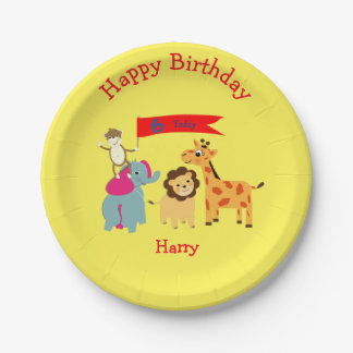 Cute cartoon Jungle Animals Happy Birthday Paper Plate