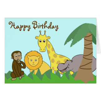 Cute Cartoon Jungle Animals Kid's Birthday Card