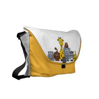 Cute Cartoon Jungle Animals Courier Bag