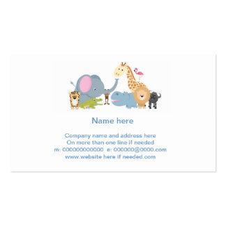 cute cartoon jungle safari animal set business card