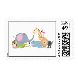 cute cartoon jungle safari animal set postage