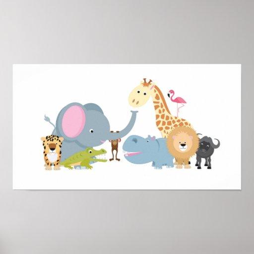 cute cartoon jungle safari animal set poster