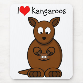 Cute Cartoon Kangaroo and Baby Joey Mouse Pad
